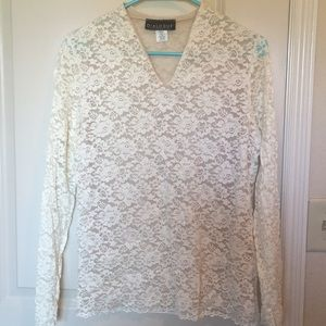 Tops - Sheer Lace Blouse- ivory